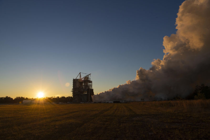 NASA performs a 650-second full-performance RS-25 engine test on the A-1 test stand at the Stennis Space Center.