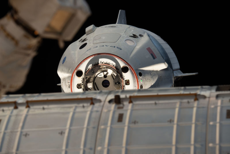 SpaceX's Crew Dragon approaches the International Space Station in March, 2019.