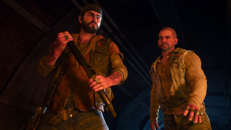 Your hopes for a lengthy, charisma-filled biker romp in <em>Days Gone</em> should be tempered for many reasons. One of them is the fact that main character Deacon (left) doesn't interact nearly as much with his buddy Boozer as we'd originally hoped.