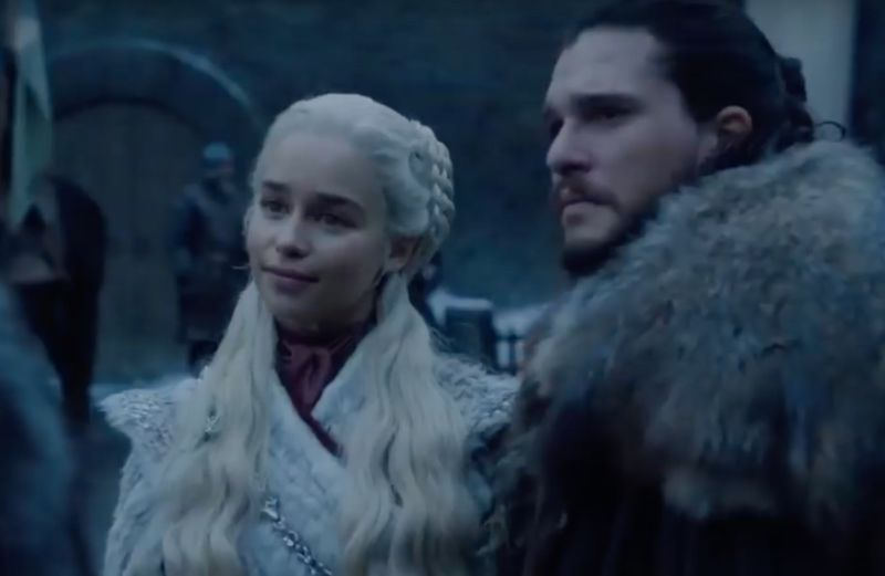 Jon Snow (Kit Harington) brings Daenerys Targaryen (Emilia Clarke) home to meet the family at Winterfell.