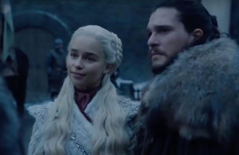 Jon Snow (Kit Harington) brings Daenerys Targaryen (Emilia Clarke) home to meet the family at Winterfell.