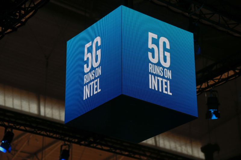 A 5G Intel logo is seen during the Mobile World Congress on February 26, 2019 in Barcelona.