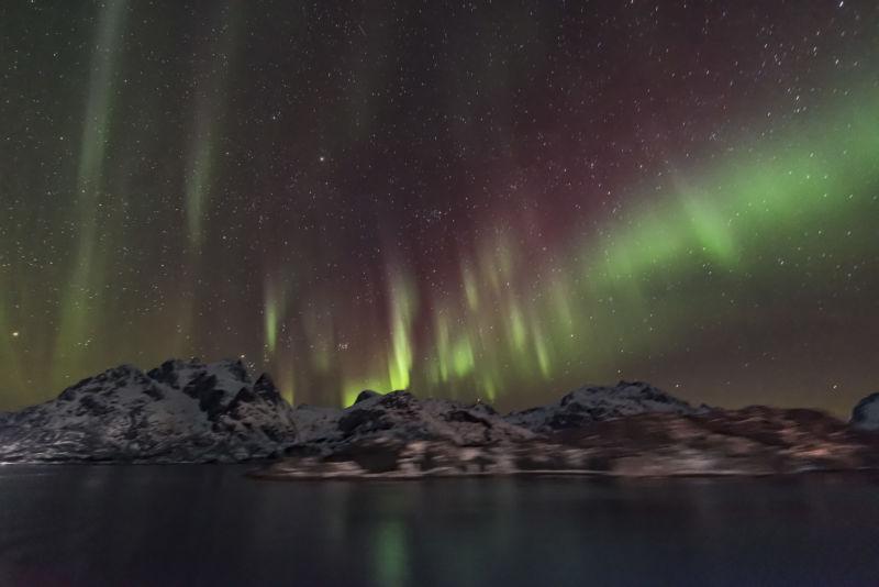 Aurora over Norway's Lofoten Islands.