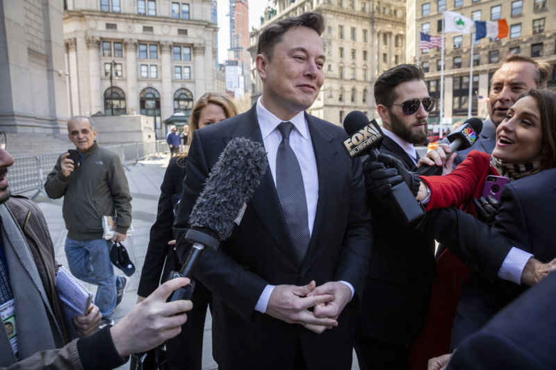 Elon Musk arrives at federal court in New York on Thursday, April 4, 2019.
