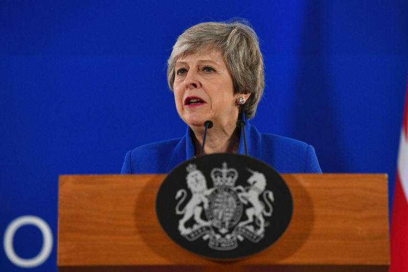 British Prime Minister Theresa May speaks in Brussels on April 11, 2019.