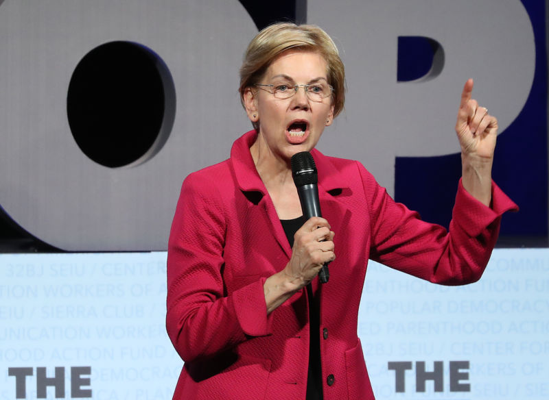 Sen. Elizabeth Warren (D-Mass.) speaks on April 1, 2019 in Washington, DC.