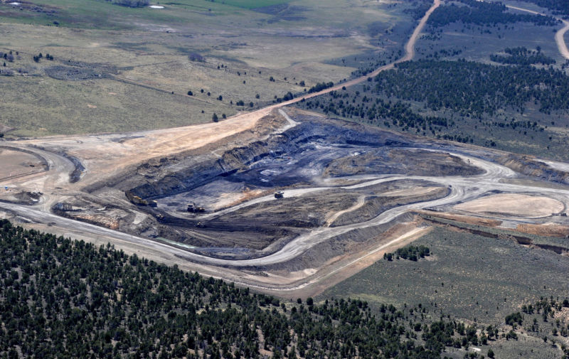 Aerial view of a coal mine in Utah.