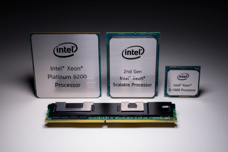 Left to right: Cascade Lake Xeon AP, Cascade Lake Xeon SP, Broadwell Xeon D-1600, and up front Optane DC Persistent Memory.