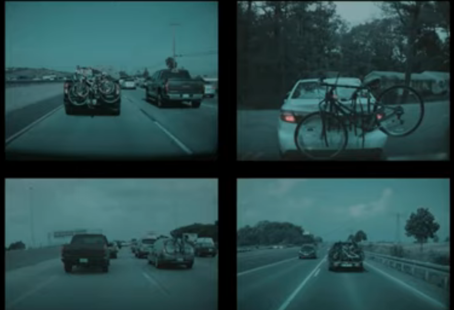 Examples of trucks attached to bikes seen by cars in Tesla's customer fleet.