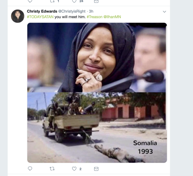 Screenshot of a tweet directed at Rep. Ilhan Omar showing a photo of a US serviceman being towed through the streets of Mogadishu.