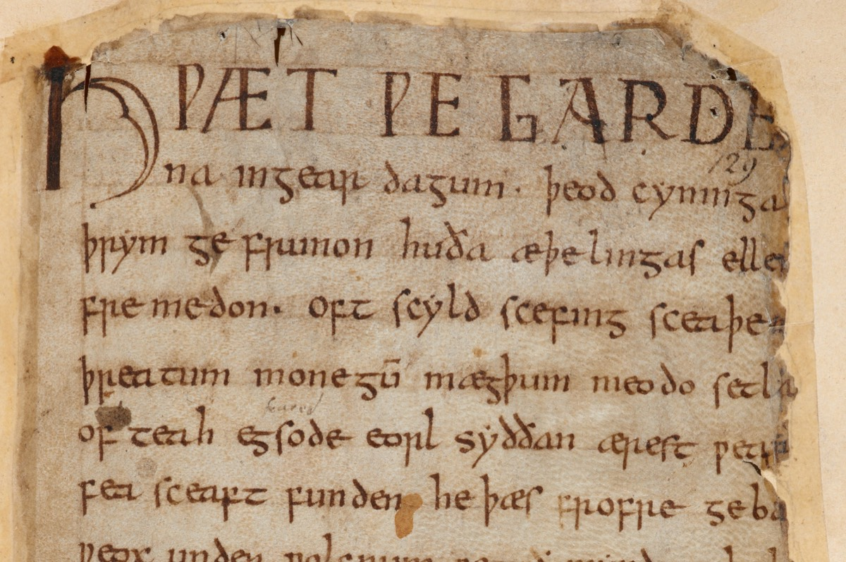The first page of <em>Beowulf</em> in Cotton Vitellius A. xv, currently located within the British Library