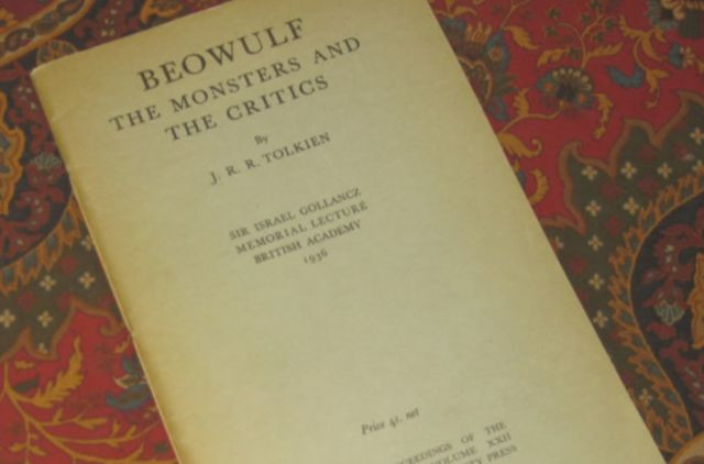 "A copy of J.R.R. Tolkien's seminal manuscript, ""<em>Beowulf</em>: The Monsters and the Critics,"" reprinted lithographically at the University Press, Oxford from sheets of the first edition, 1958, 1960."