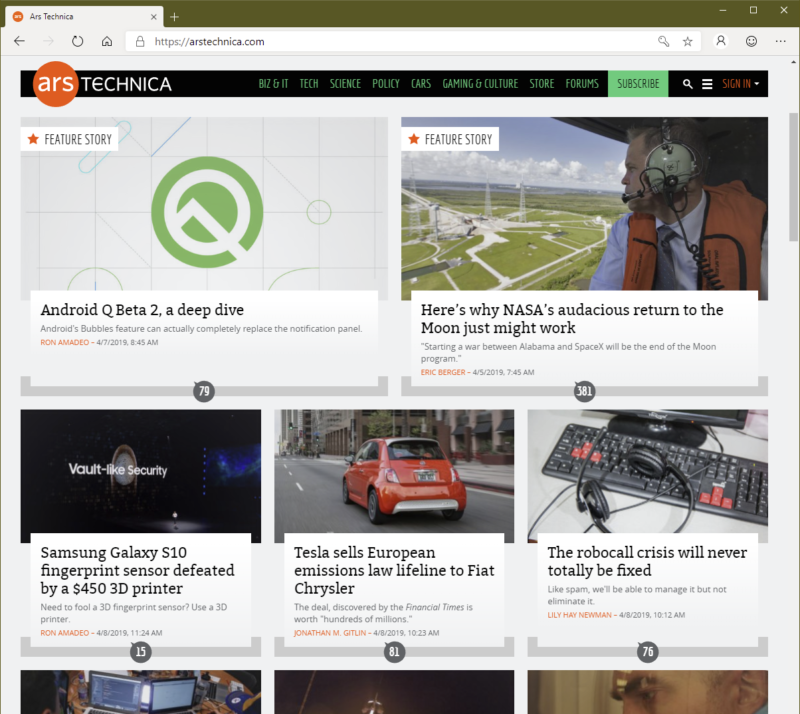 There's really no difference between how the Ars front page looks in Edge and Chrome.