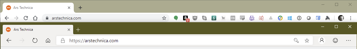 Top: Chrome's tabs and toolbar. Bottom: Edge's tabs and toolbar. Slightly squarer, slightly finer lines used for icons, and slightly larger type. But much more similar than they are different.
