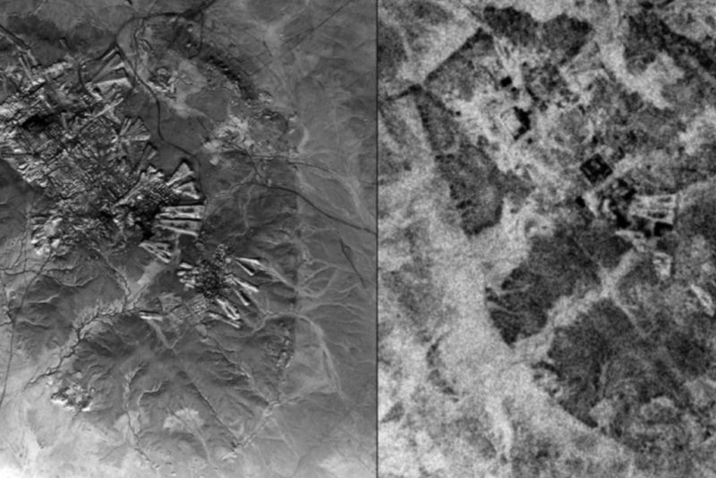 Comparison of the resolution of U2 aerial photography (left) over Ur, Iraq, from October 30, 1959, versus CORONA satellite imagery (right) taken May 4, 1968.