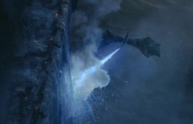 Viserion likely breathed hot blue fire. Even that might not be enough to bring down the wall.