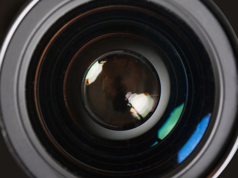 Close-up of a camera lens.