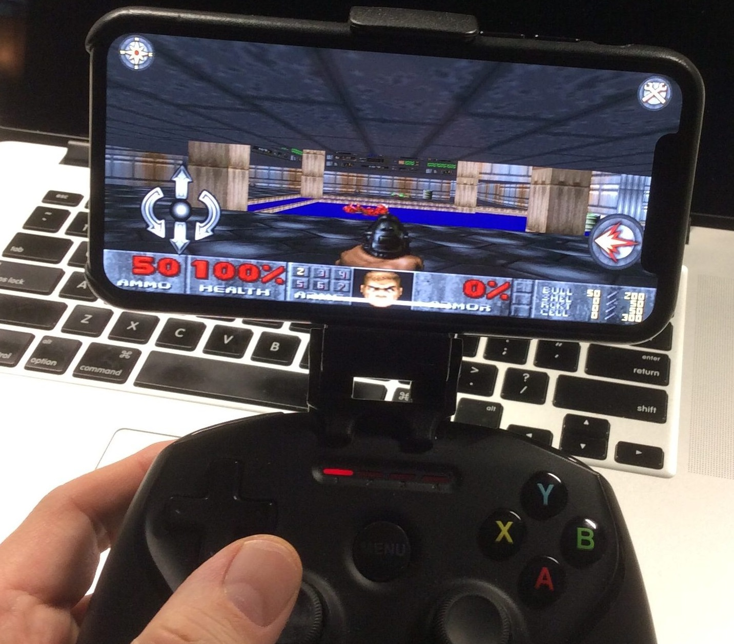 <em>Doom</em> running on a modern iOS device, years after official support ended.
