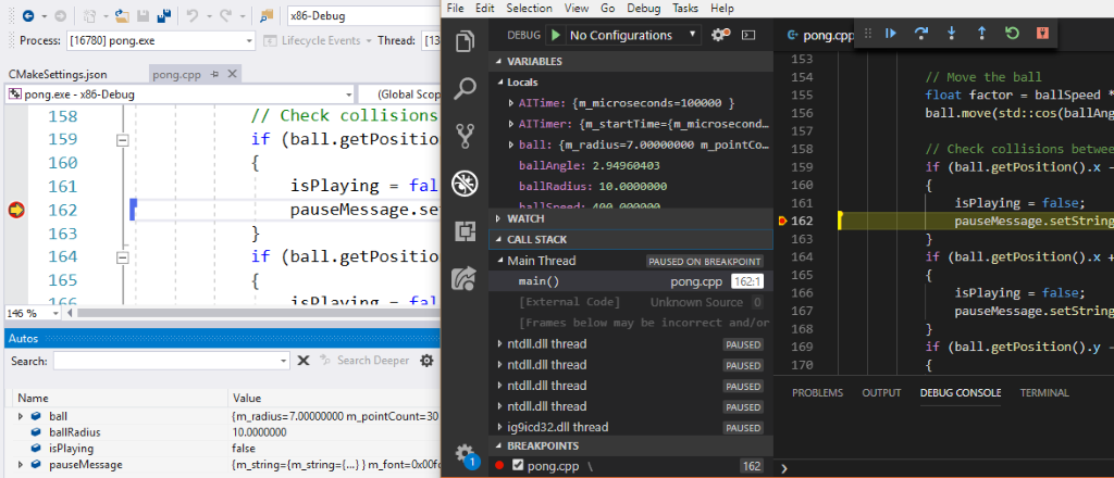 Live Share C++ coding, with Visual Studio 2019 on the left, Visual Studio Code on the right.