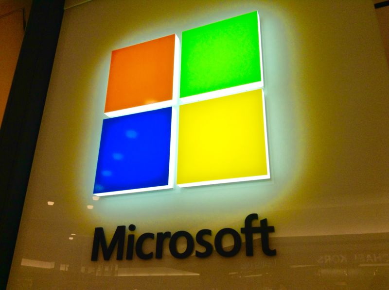 Microsoft logo on a wall.