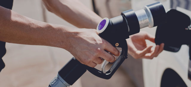 A Nel/Nikola refueling pump is shown in a 2019 publicity photo.