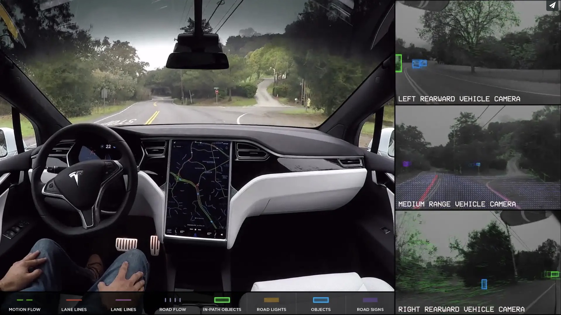 A self-driving Tesla prototype using Nvidia Drive PX 2 AI technology.