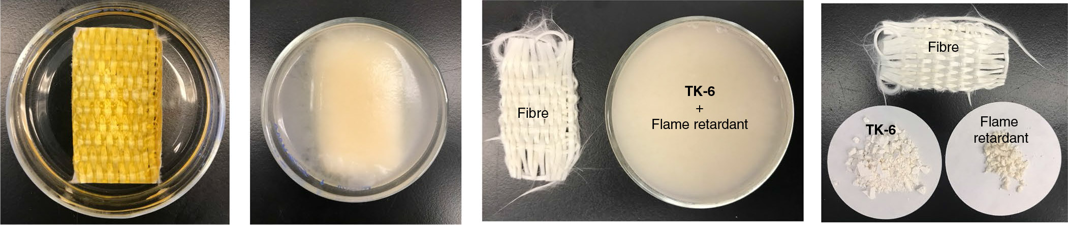 Fiberglass weave with a flame retardant plastic? Neatly separate that back out to fiberglass weave, plastic building blocks, and the flame retardant additive.
