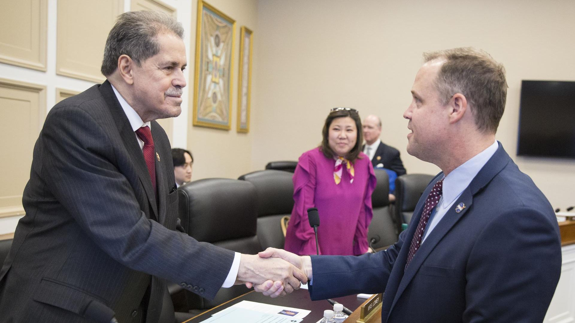 NASA Administrator Jim Bridenstine, right, is seen with Representative José Serrano, chair of the House Appropriations Committee's Commerce, Justice, Science, and Related Agencies Subcommittee prior to a hearing on March 27.
