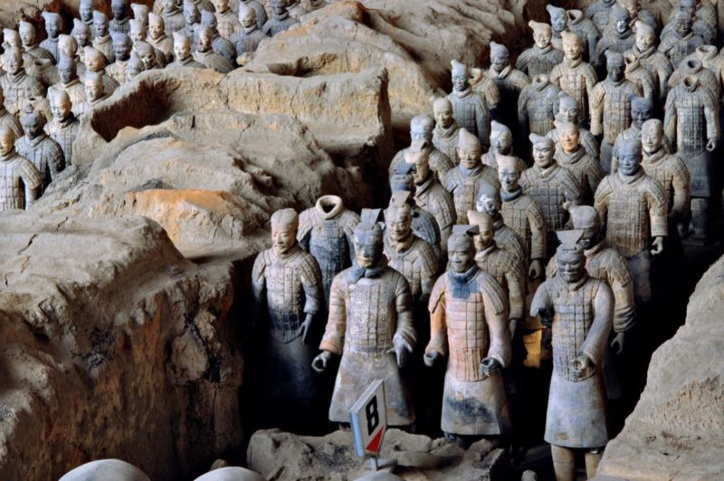 View of Pit 1 of the Terracotta Army showing the hundreds of warriors once armed with bronze weapons.