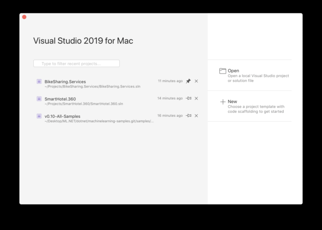 Visual Studio 2019 for Mac welcome screen.