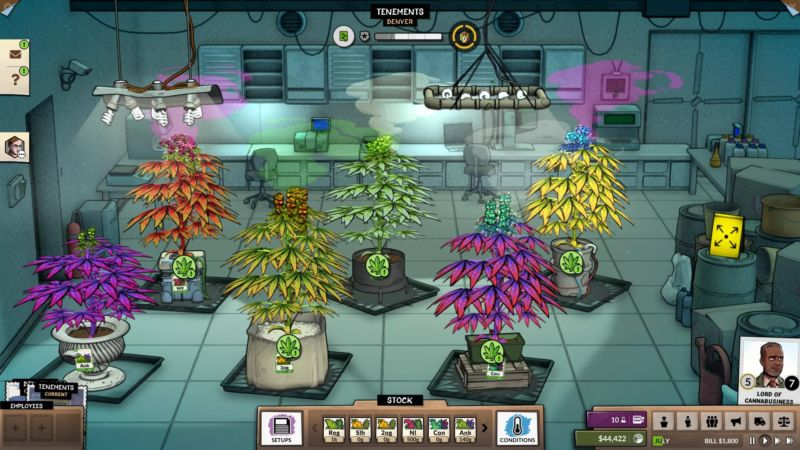A scene from a grow room in <em>Weedcraft, Inc.</em>, where you can become &quot;Lord of Canabusiness&quot;