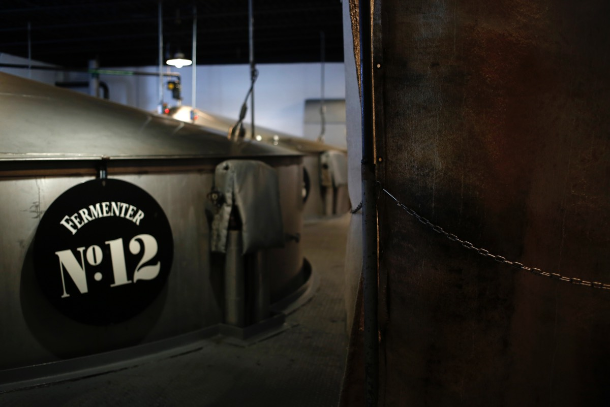 Sour mash cooks in fermenting tanks at Jack Daniel's Distillery in Lynchburg, Tennessee.