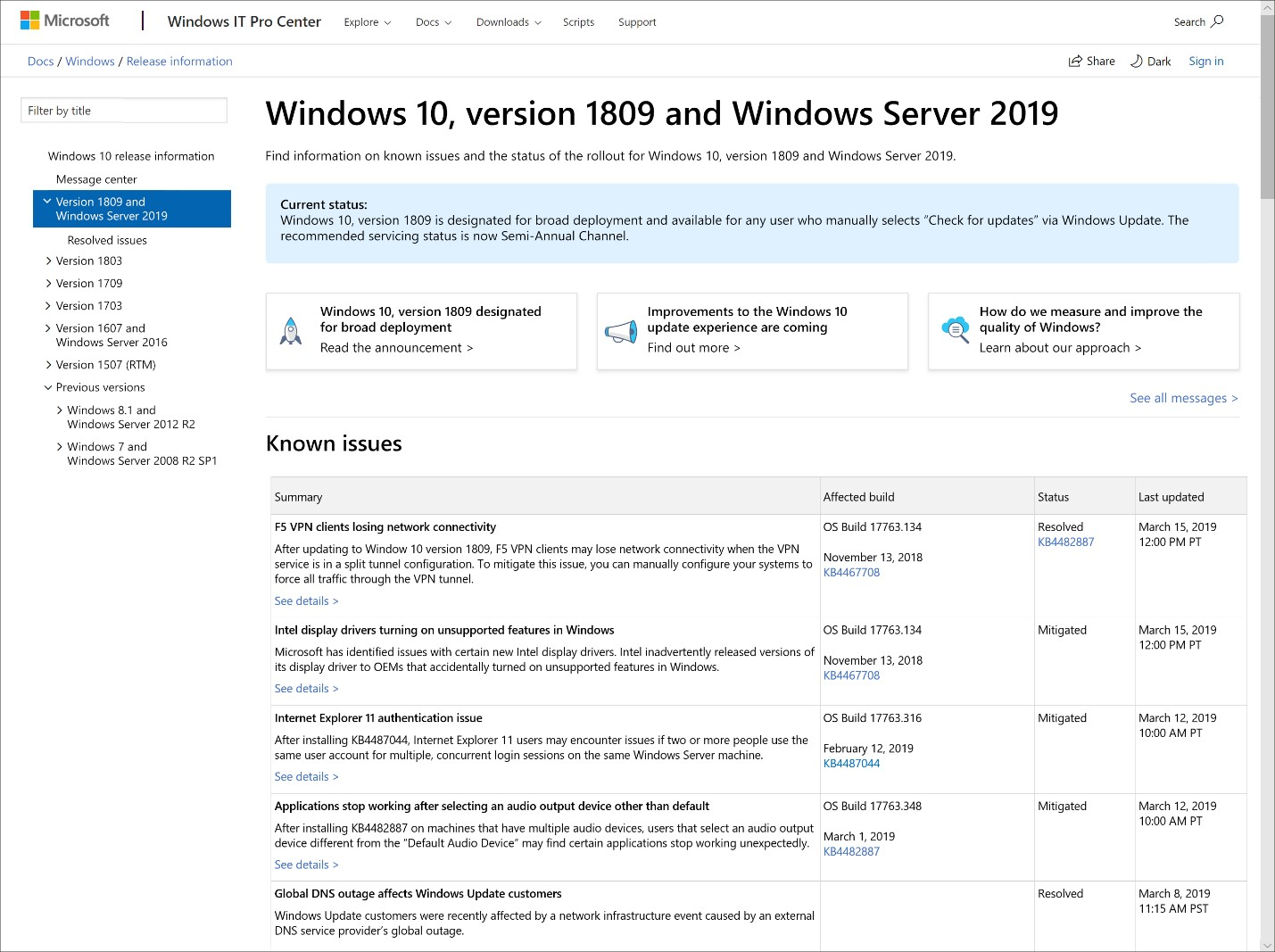 Windows 10 May 2019 Update announced, and major update changes