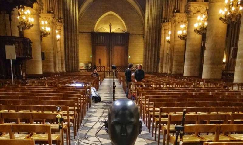 Acoustician Brian FG Katz and colleagues with the artificial head they set up to take acoustical measurements at Notre Dame in 2013.