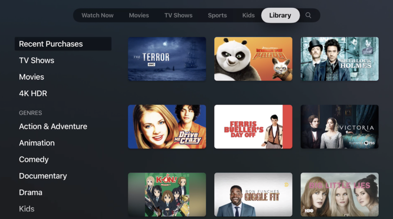 Your library in the Apple TV app