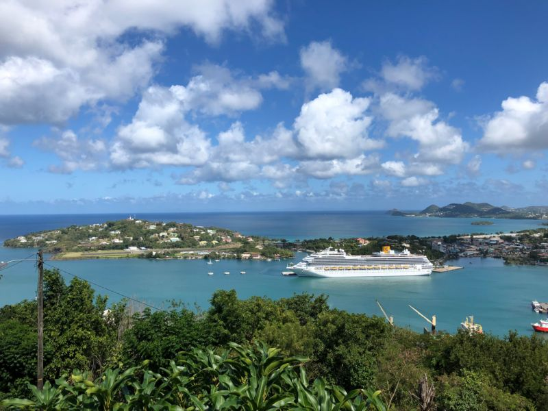 A cruise ship in Castries Port, Saint Lucia on February 6, 2019.