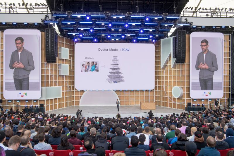Google CEO Sundar Pichai speaks during the Google I/O Developers Conference on May 7, 2019.
