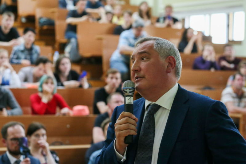 "Dmitry Rogozin, director of the Roscosmos State Corporation, gives an open lecture titled ""Transformation of Roscosmos"" at Moscow State University on May 23, 2019."