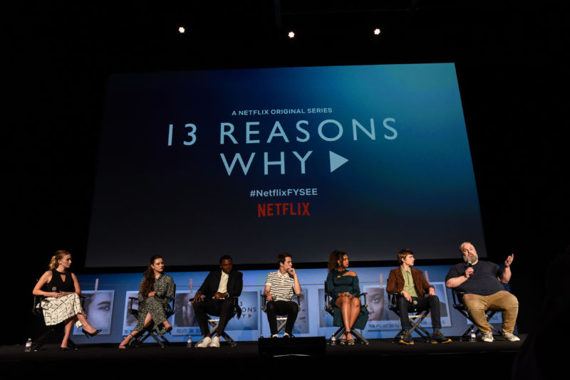 "Katherine Langford, Derek Luke, Dylan Minnette, Alisha Boe, Miles Heizer, and Brian Yorkey attend #NETFLIXFYSEE Event For ""13 Reasons Why"" Season 2 - Inside at Netflix FYSEE At Raleigh Studios on June 1, 2018 in Los Angeles, Calif."