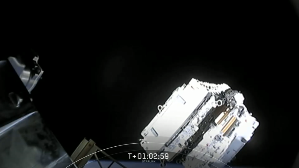 A stack of 60 Starlink satellites is released from the Falcon 9 rocket's upper stage.