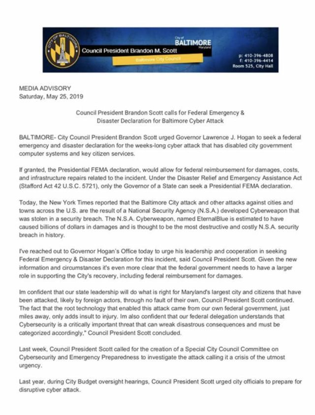 Media release on Baltimore's disaster relief request.