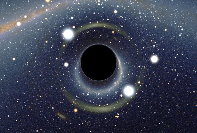 Simulated view of a black hole in front of the Large Magellanic Cloud.