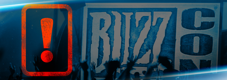 This image of an exclamation-mark warning next to a BlizzCon logo was uploaded by Blizzard Entertainment itself, not us.
