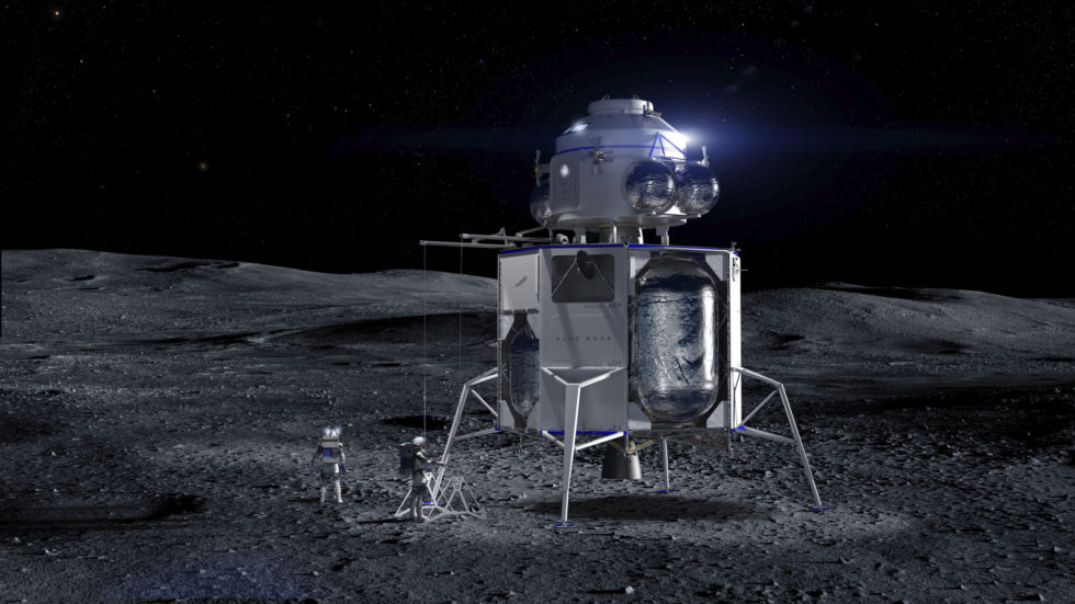 Hexbyte - Tech News - Ars Technica | A Blue Moon lander with an ascent vehicle (built by another company) on top.