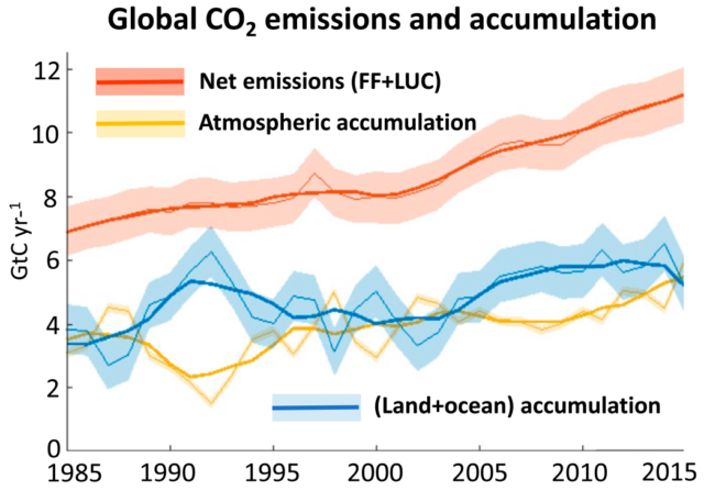 Of the CO<sub>2</sub> humans emit by burning fossil fuels or clearing forests, some goes into the oceans and land ecosystems (blue line) while the rest stays in the atmosphere (yellow line).