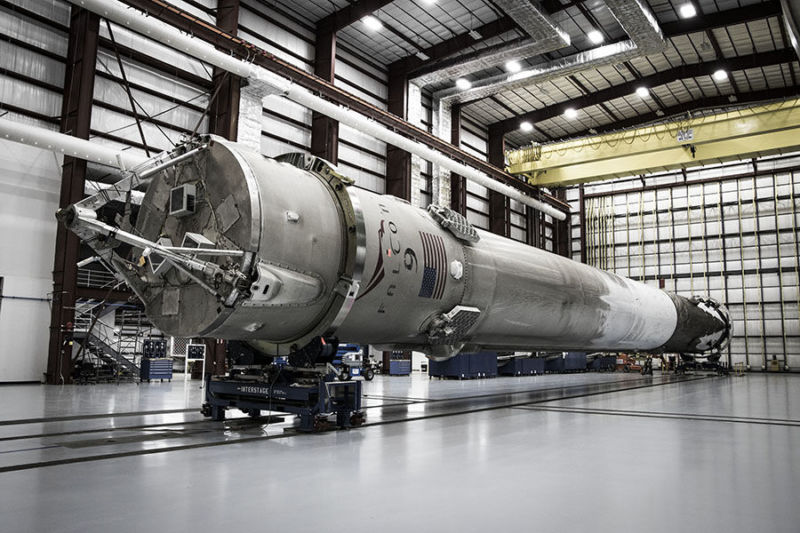 A SpaceX Falcon 9 rocket in the hangar after a flight.