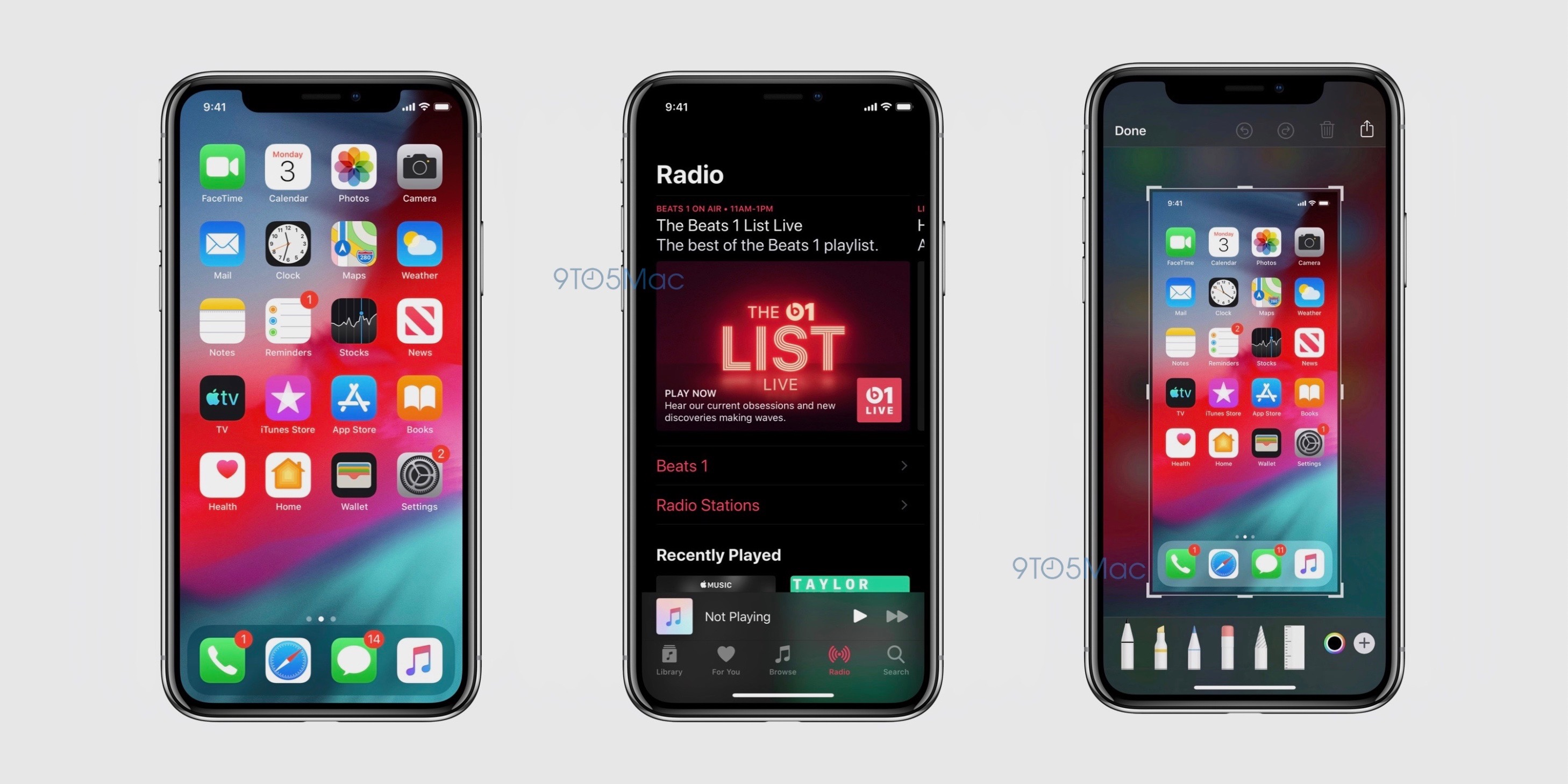 Screenshots of iOS 13's Dark Mode, according to 9to5Mac.