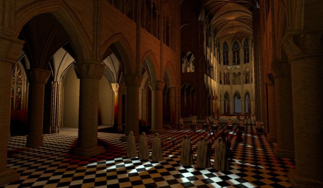 A virtual Notre Dame allows the listener to listen to a concert while moving through the space.