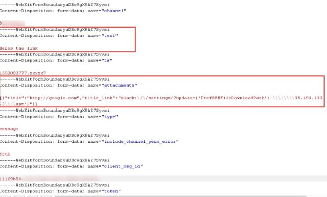 A dissected view of a crafted Slack message with a malicious URL that changes the location where the Slack desktop application for Windows saves downloads.