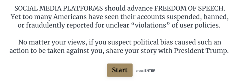 The landing page for the White House censorship reporting tool.